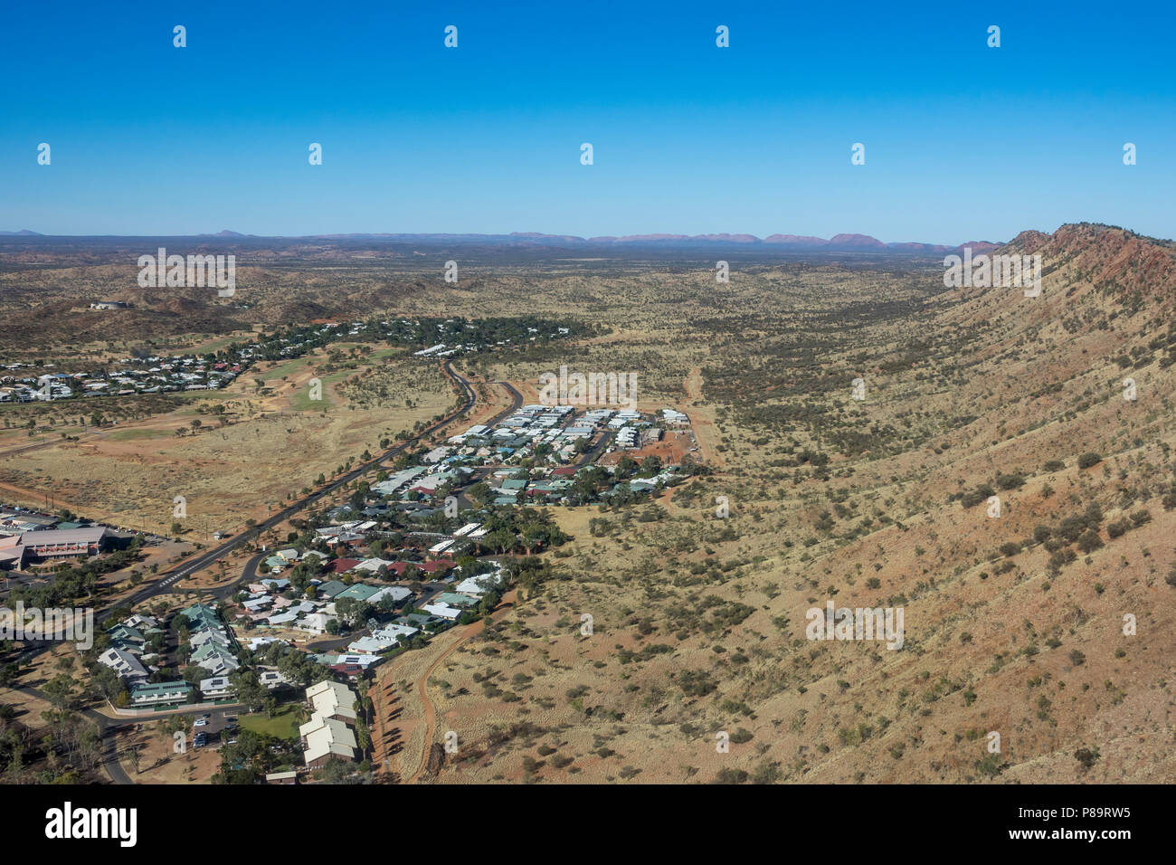 Aerial view over Alice Springs, Northern Territory, Australia - Stock Image