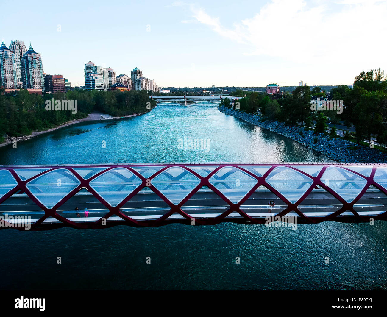 Peace Bridge View of River Stock Photo