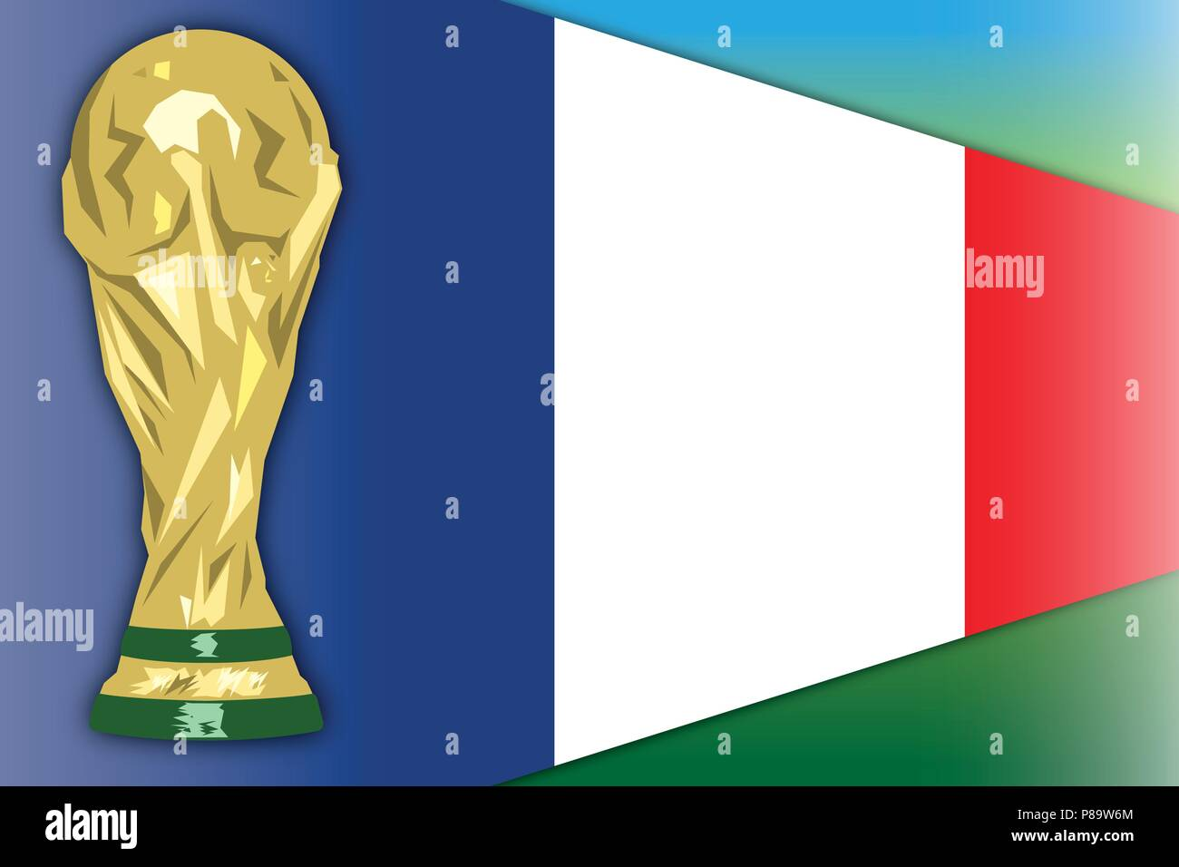 France flag and world cup, Russia 2018, final phase - Stock Vector