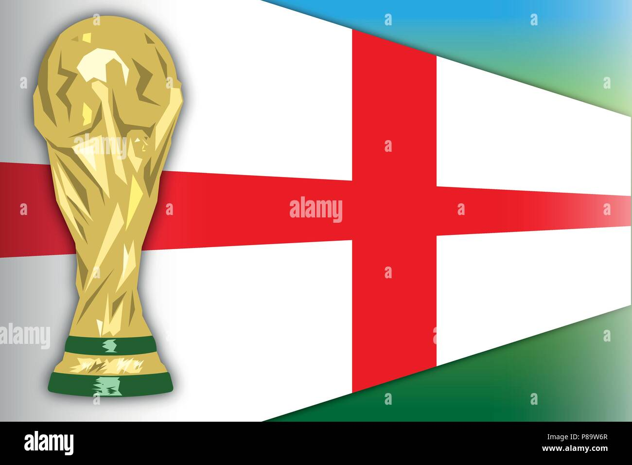 England flag and world cup, Russia 2018, final phase - Stock Vector