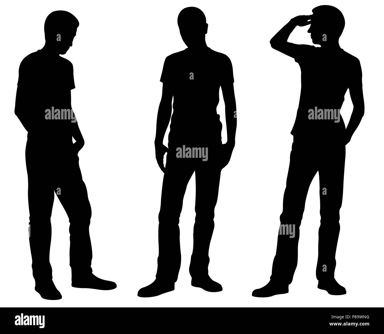 Silhouettes of men is different standing positions isolated on white - Stock Image