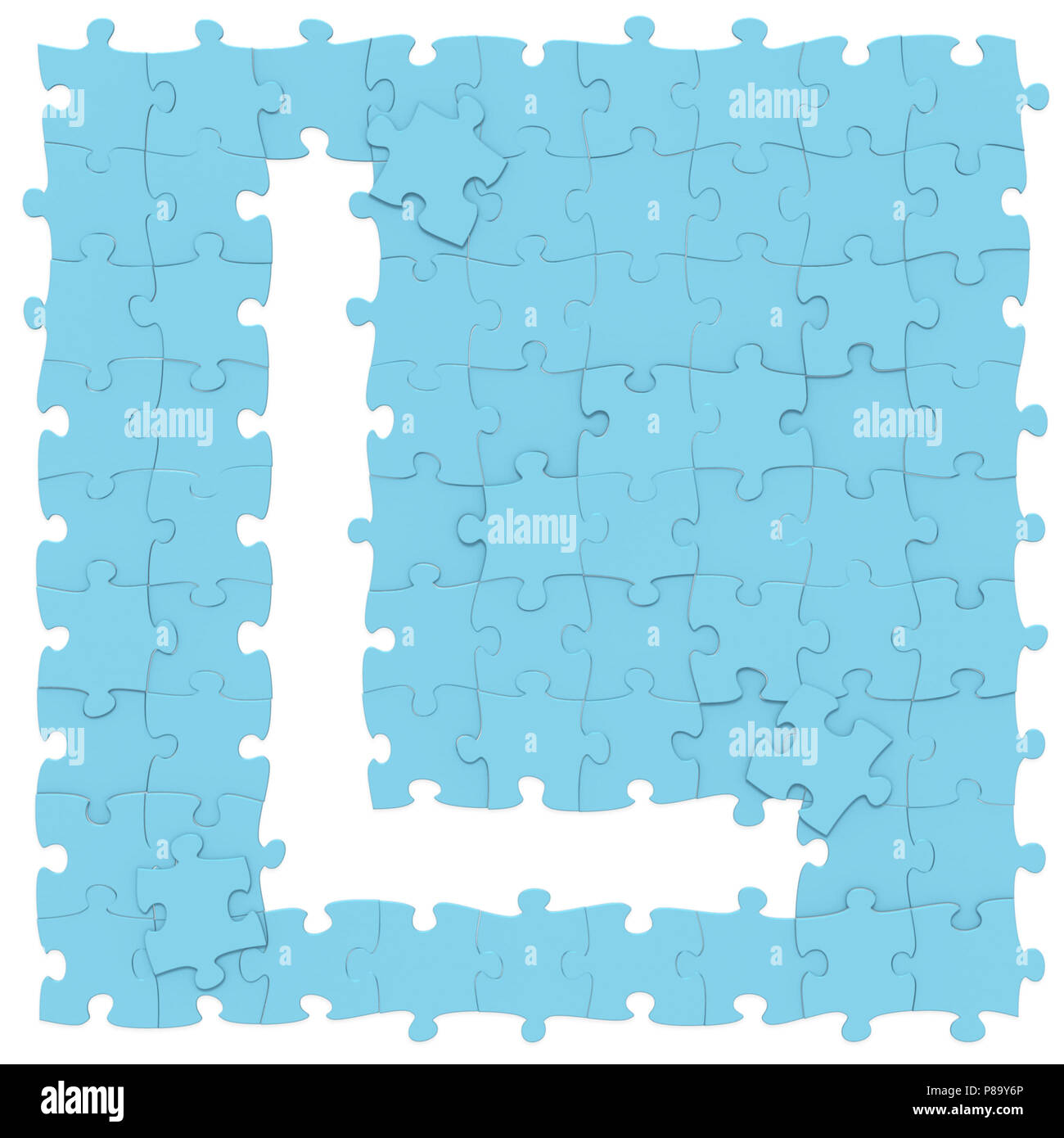 Jigsaw Puzzles Blue Color Assembled Like Capital Letter L On White