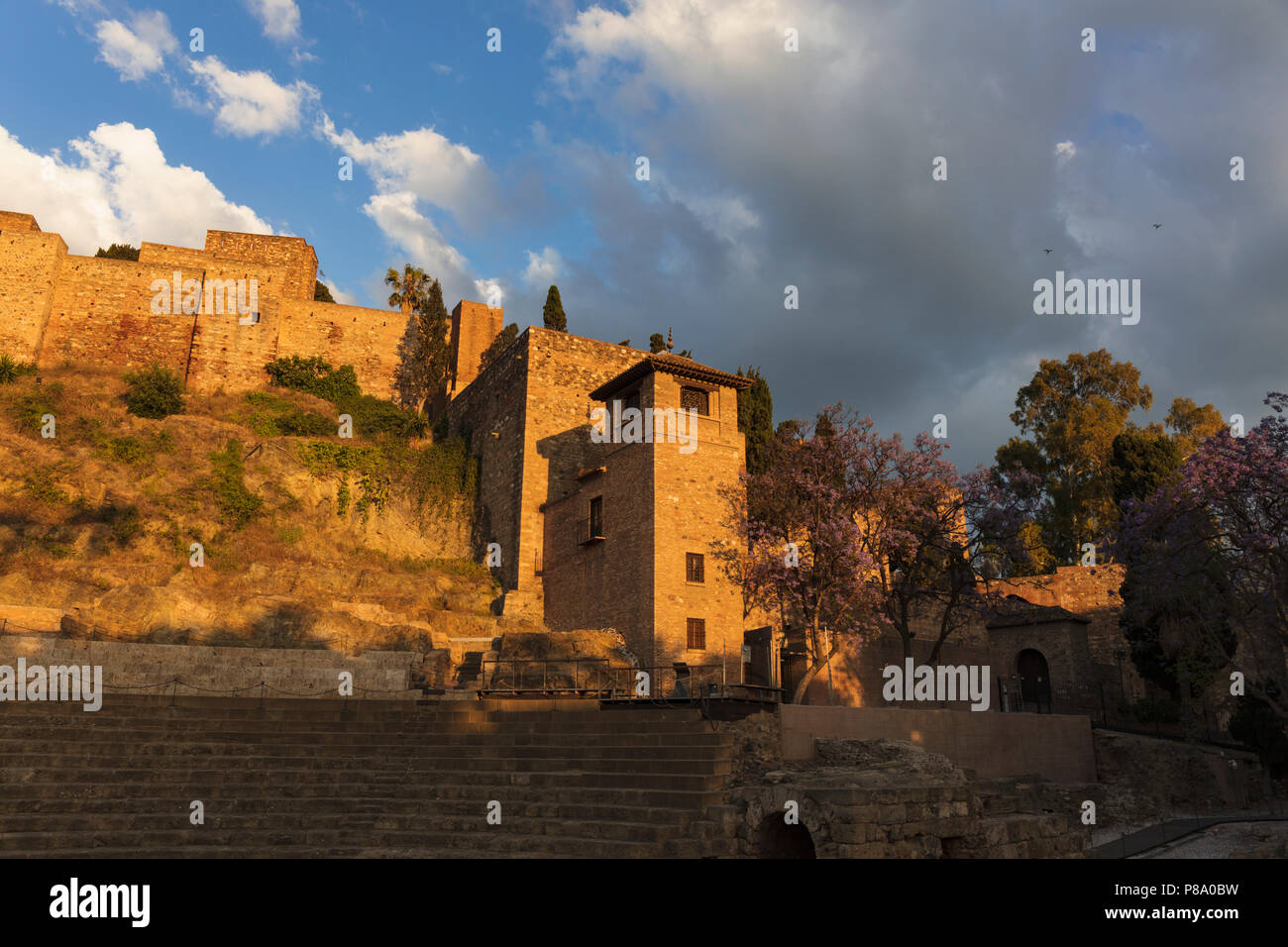 Malaga, Costa del Sol, Malaga Province, Andalusia, southern Spain.  The Moorish Alcazaba, late afternoon. - Stock Image
