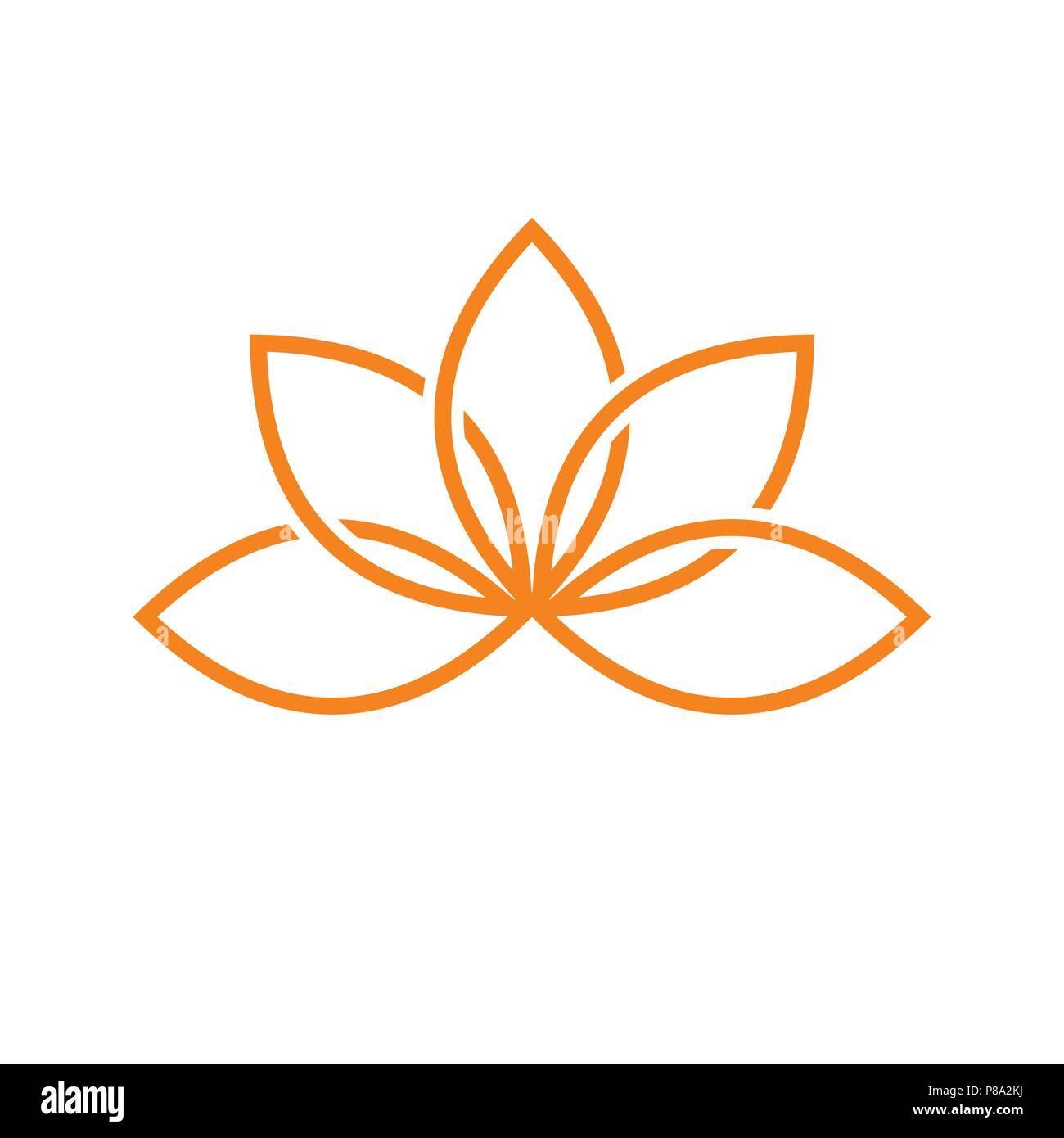 lotus artistic line vector symbol graphic logo design template stock