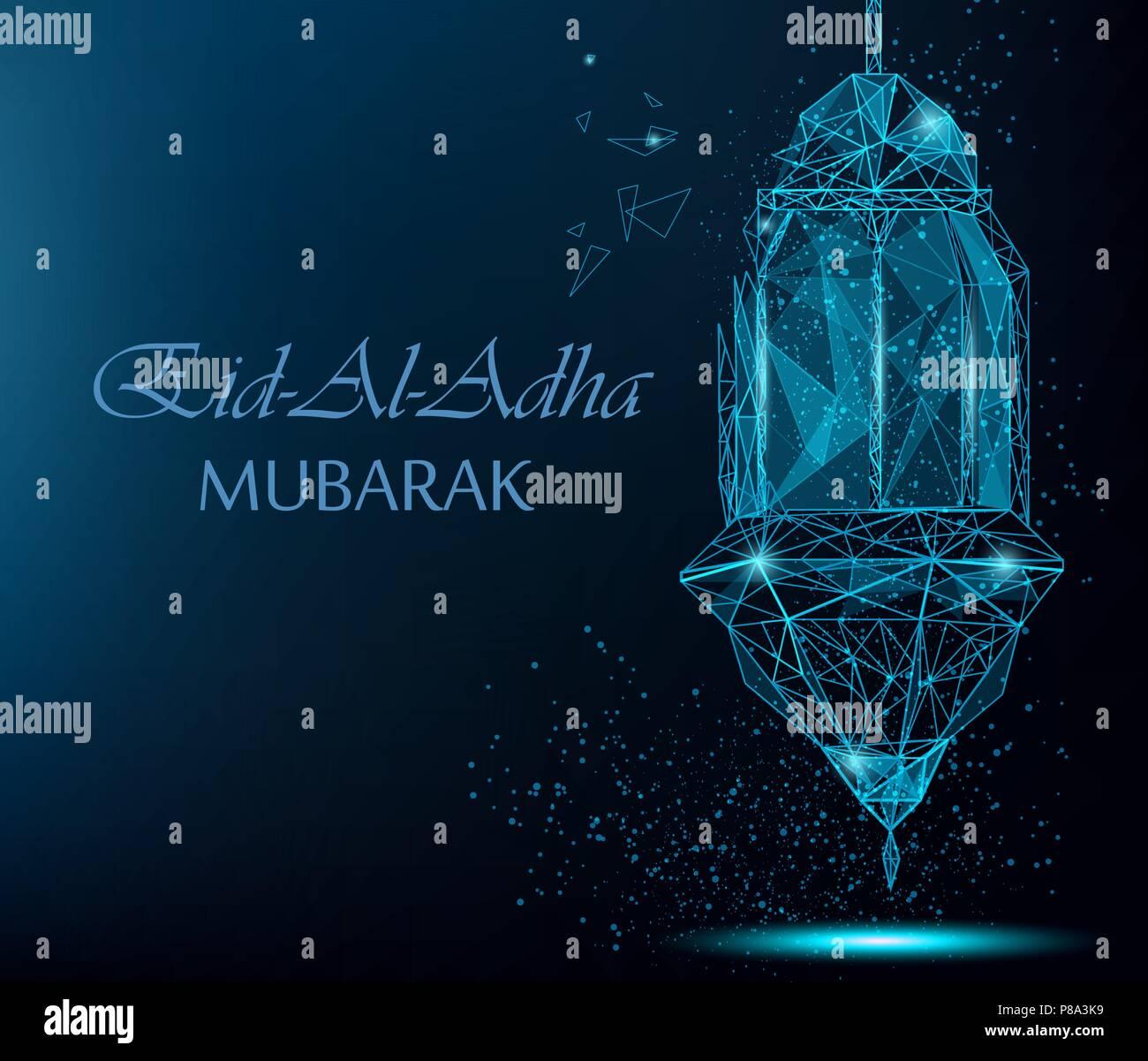 Eid Al Adha Bright Greeting Card With Traditional Arabic Lantern