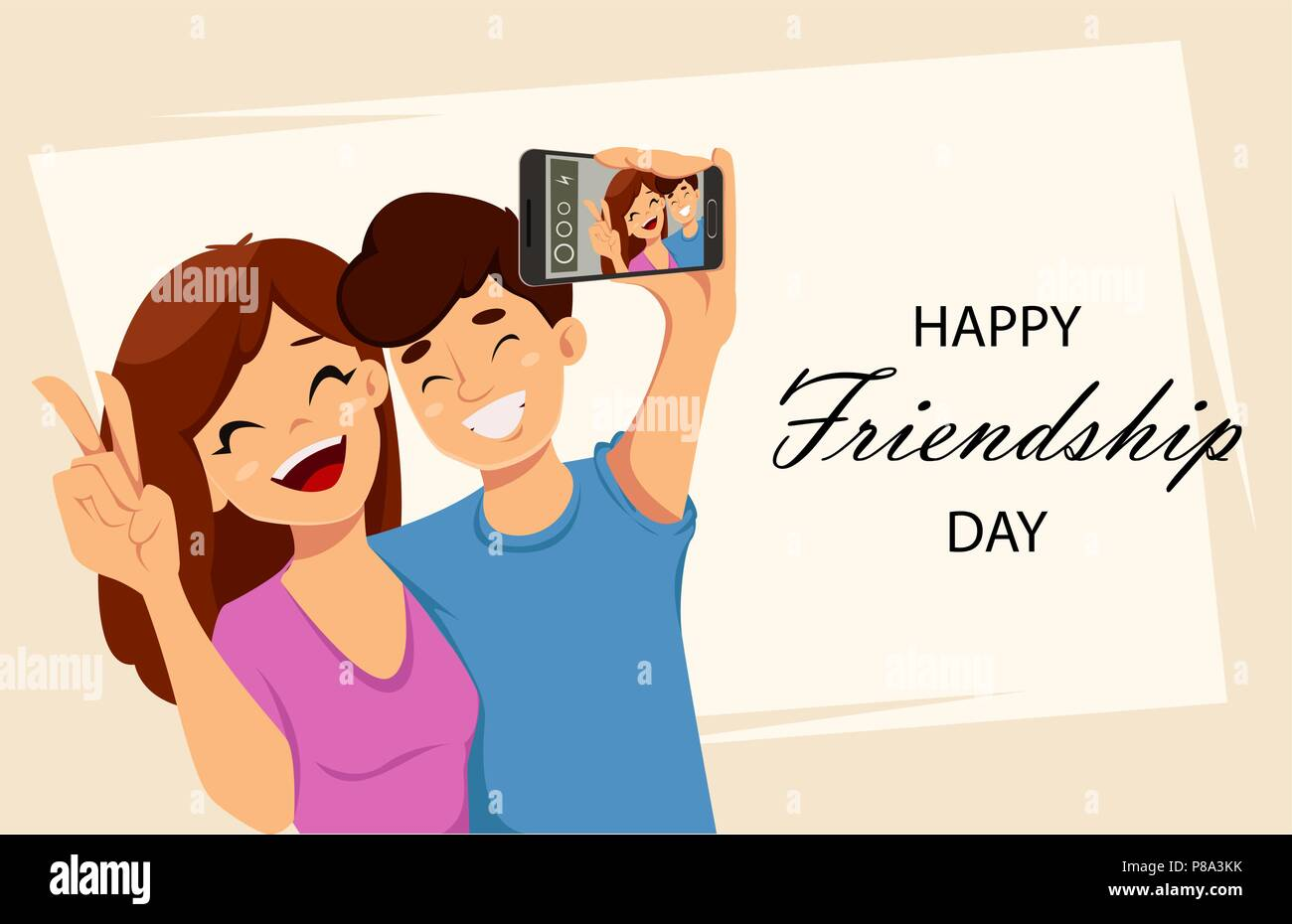 Happy Friendship Day Greeting Card Poster Or Banner Two Friends