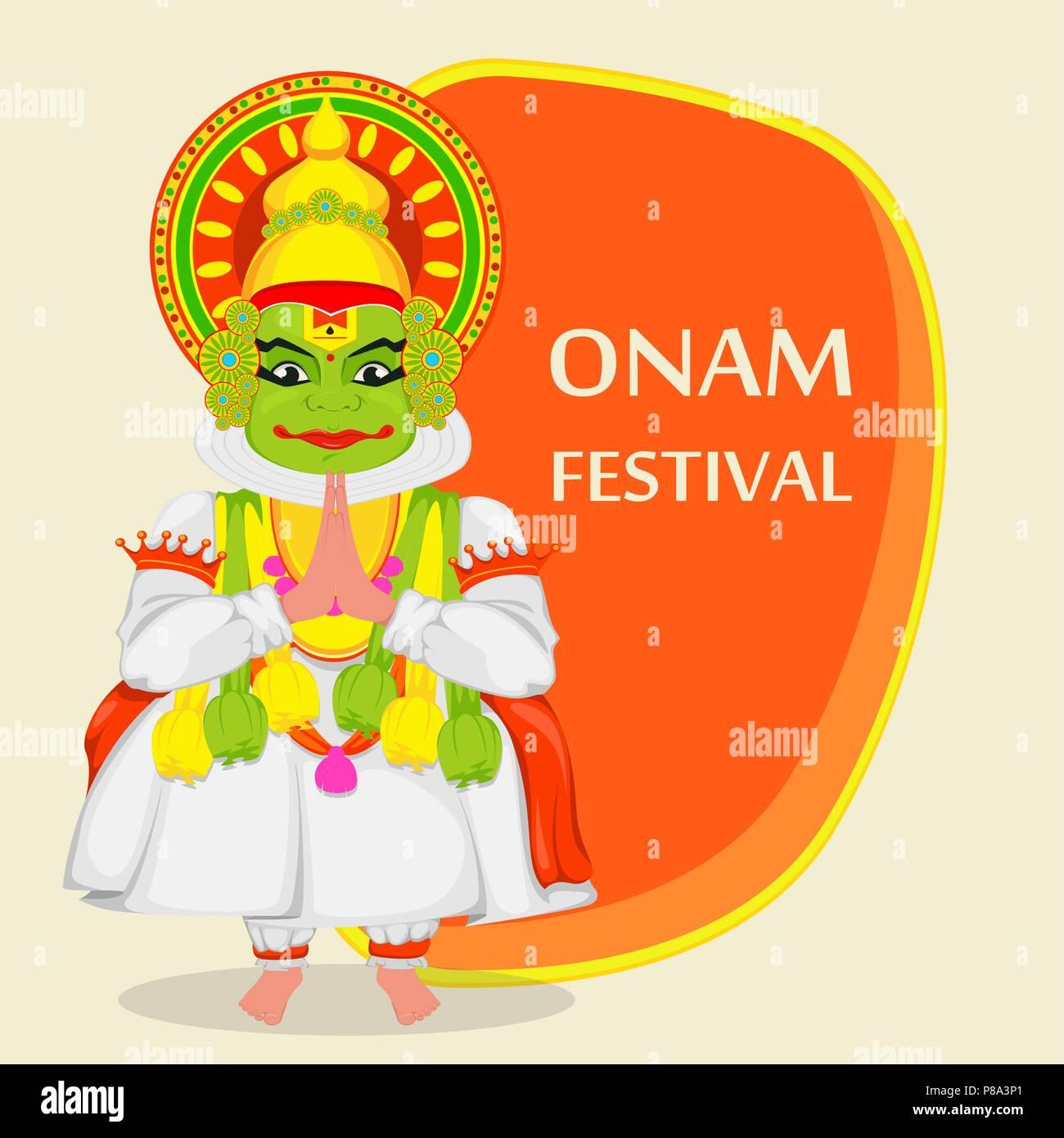 Kathakali Dancer Happy Onam Festival Of South India Kerala