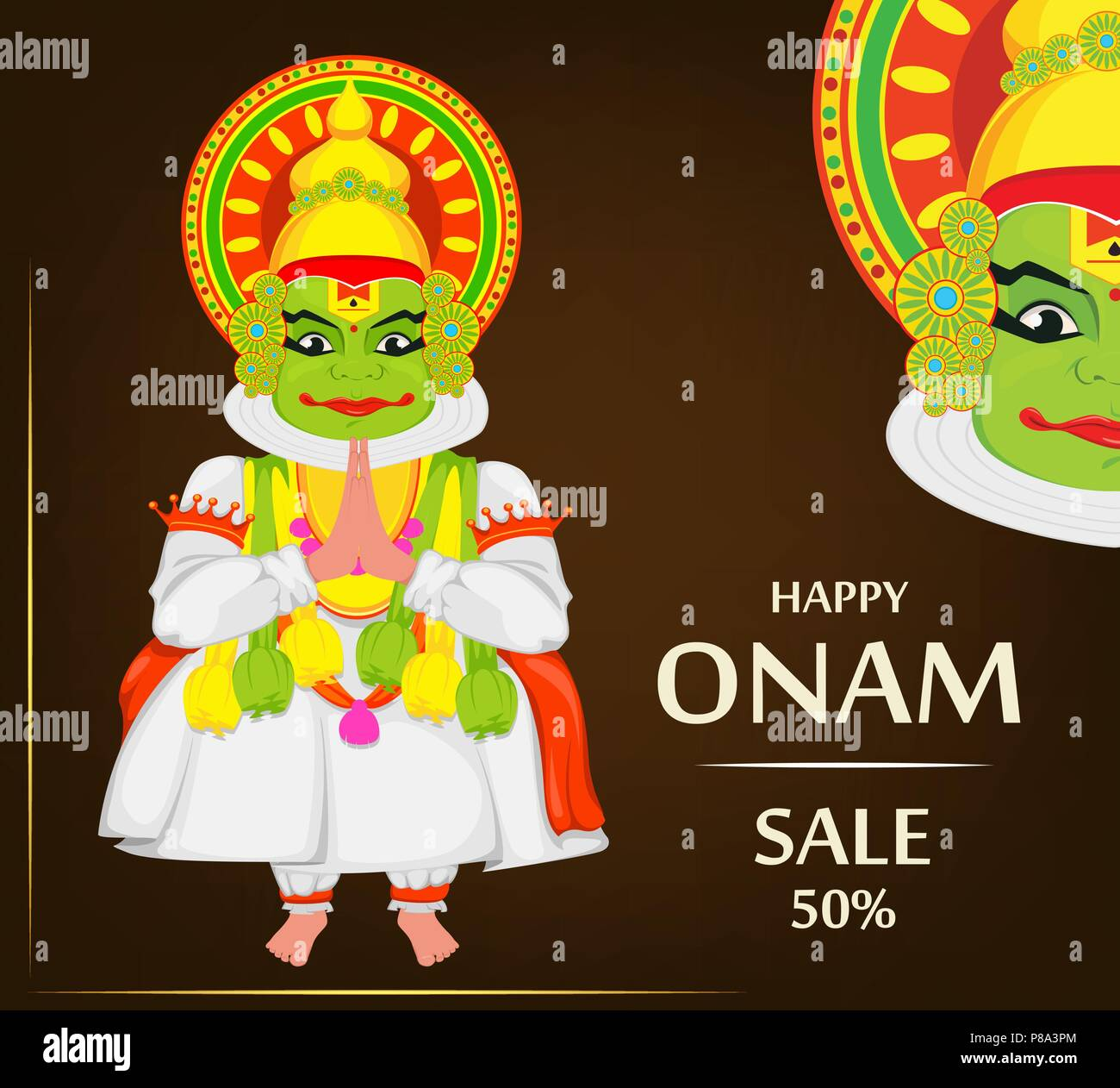 Kathakali Dancer Happy Onam Festival Of South India Kerala Vector