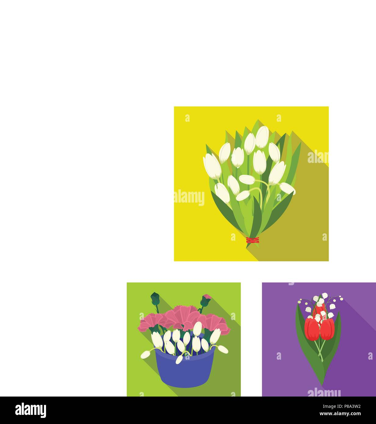 A Bouquet Of Fresh Flowers Flat Icons In Set Collection For Design