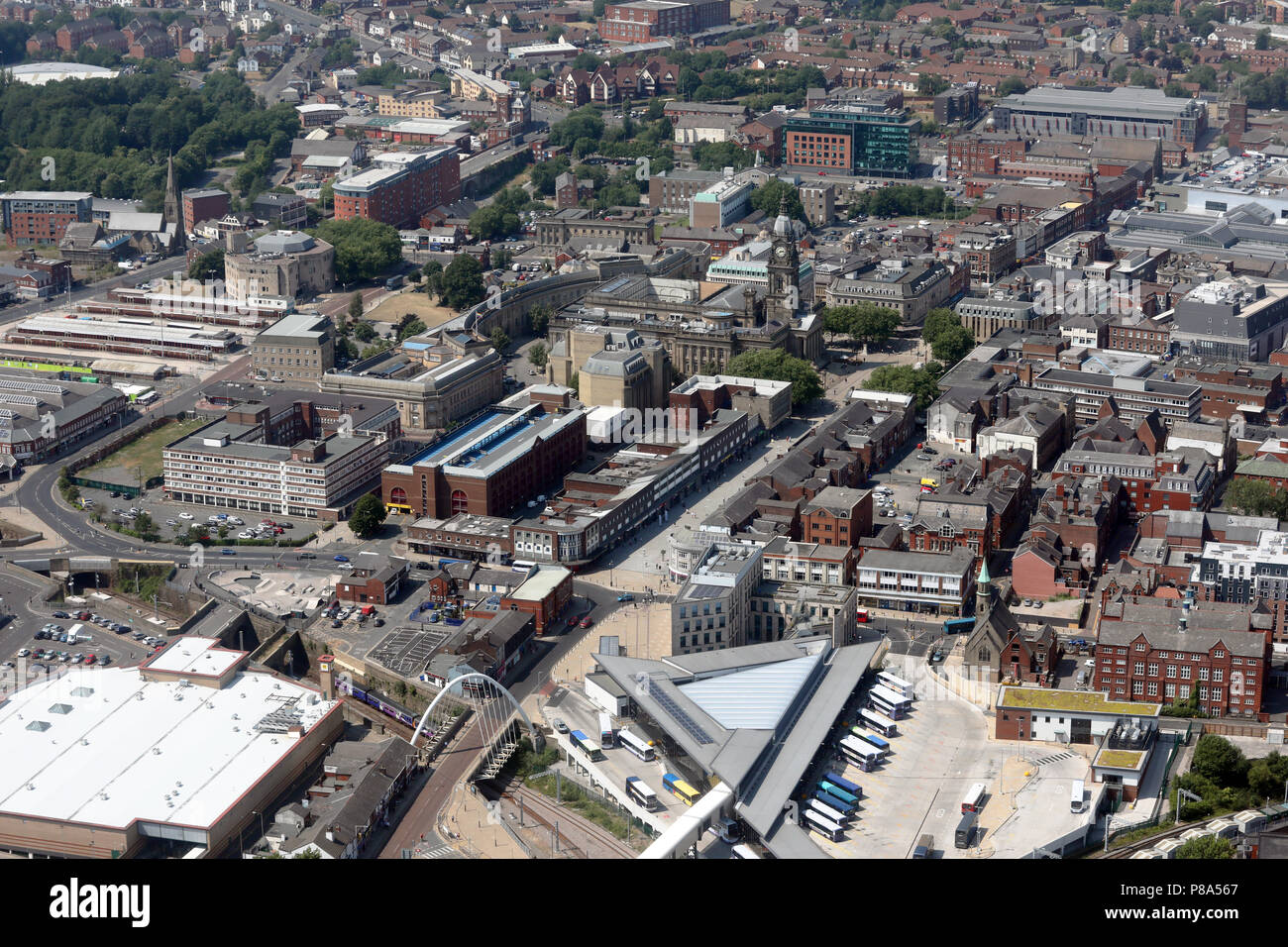 aerial view of Bolton town centre, Greater Manchester but formerly Lancashire - Stock Image