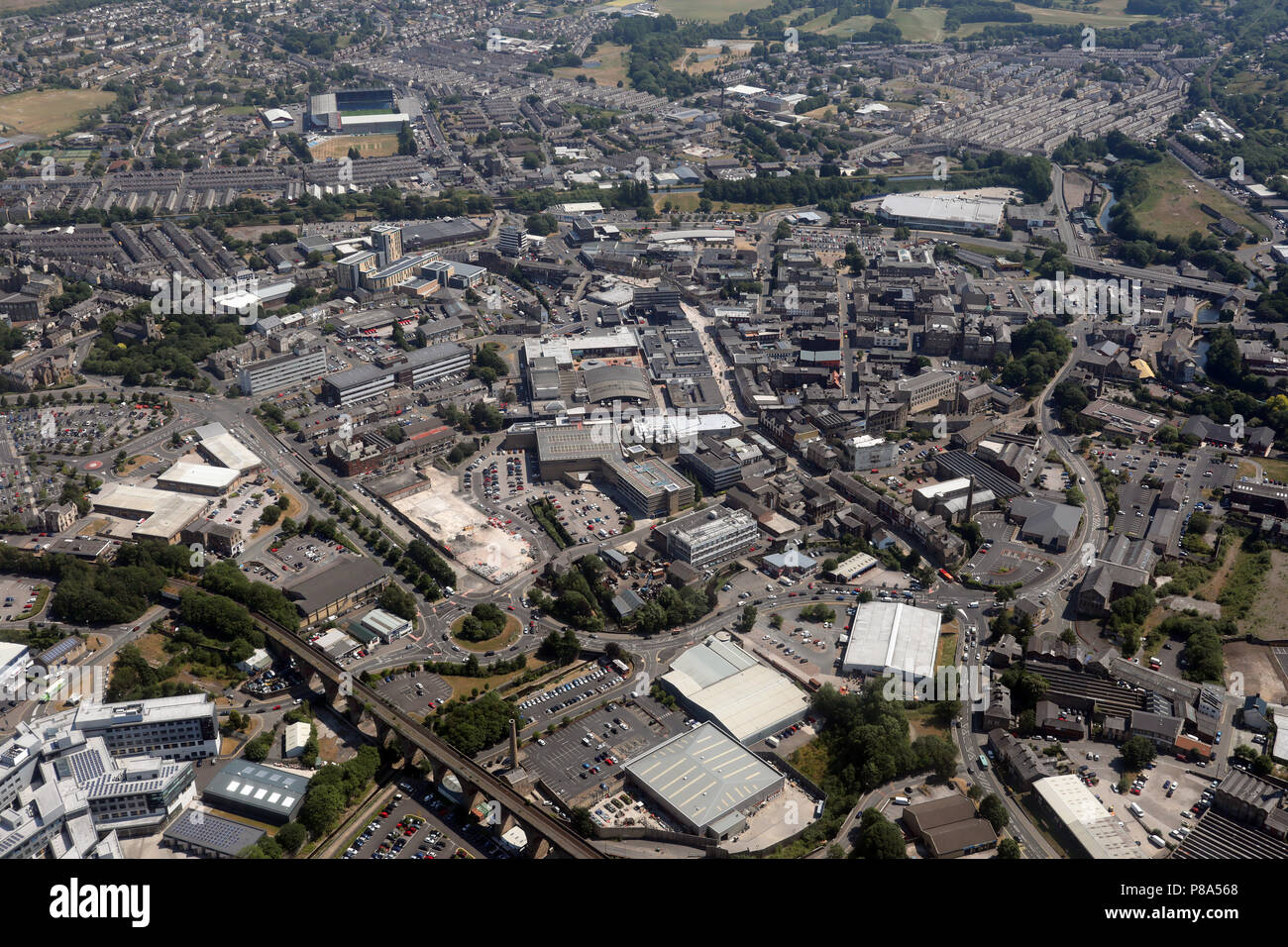 aerial view of Burnley town centre with Turf Moor Stadium ...