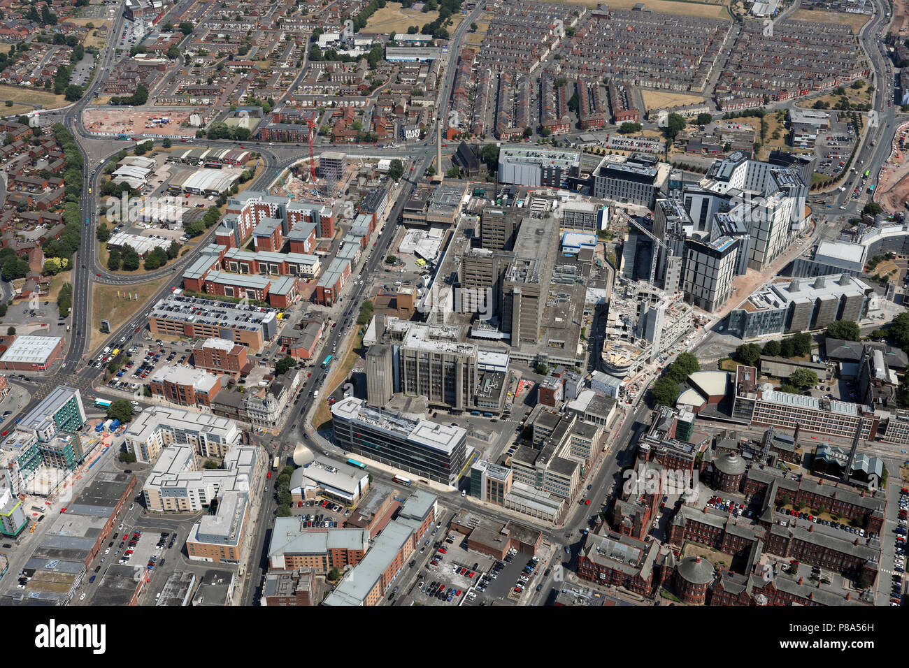 aerial view of The Royal Liverpool University Hospital - Stock Image