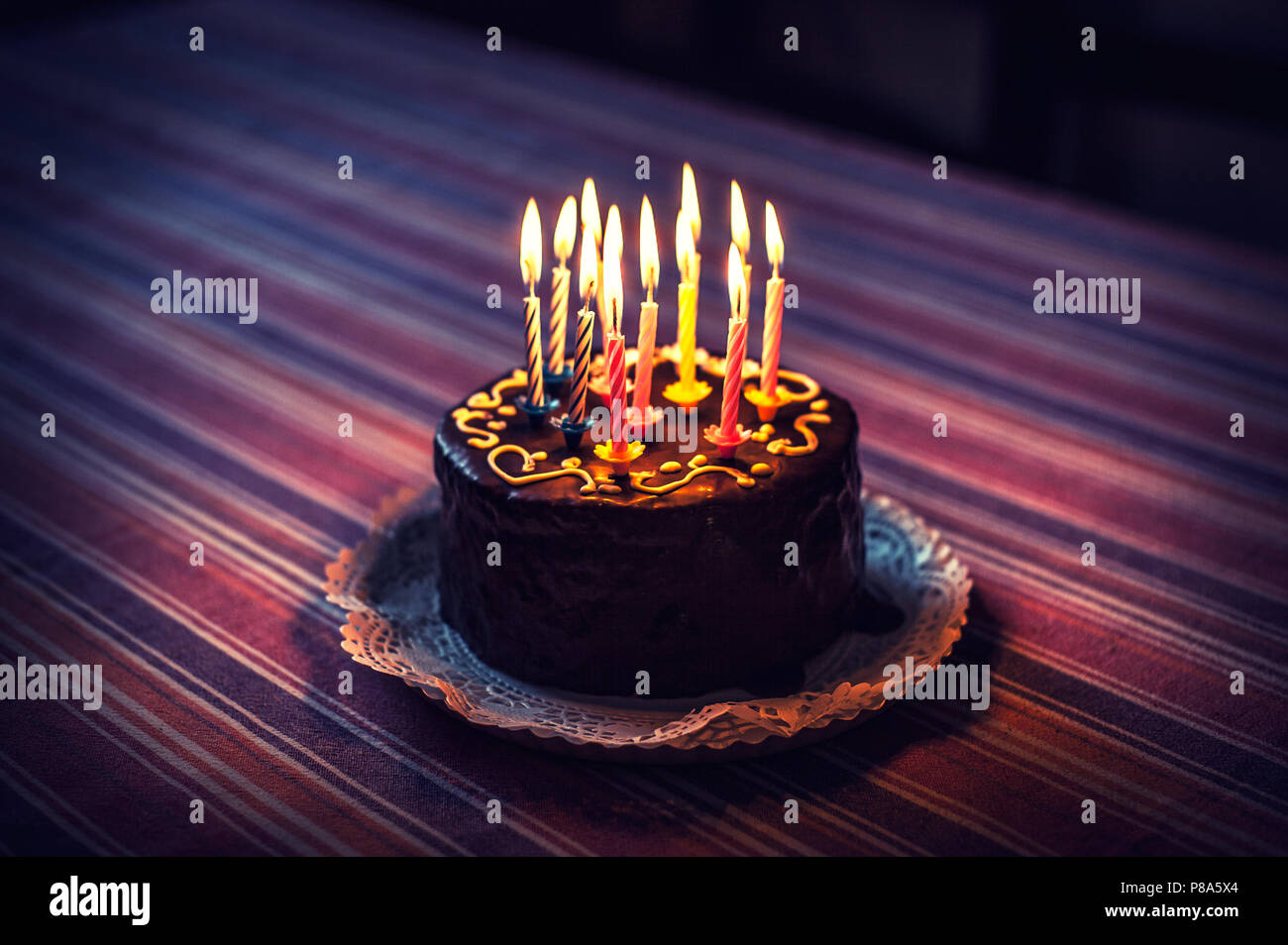 Excellent Surprise Birthday Cake With Candles Stock Photo 211665836 Alamy Funny Birthday Cards Online Amentibdeldamsfinfo