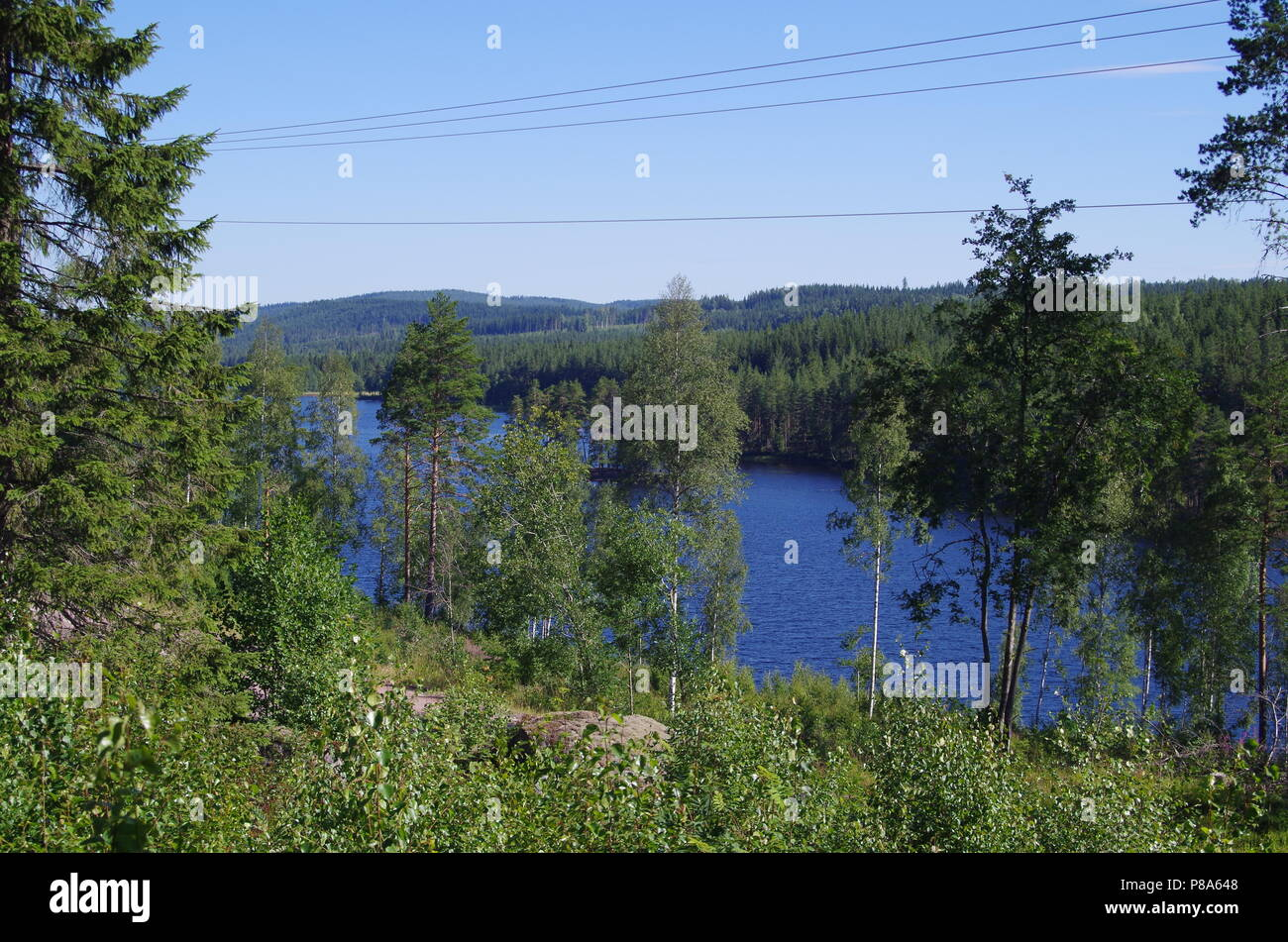 Scenic lake in the heart of Dalarna in Sweden Stock Photo