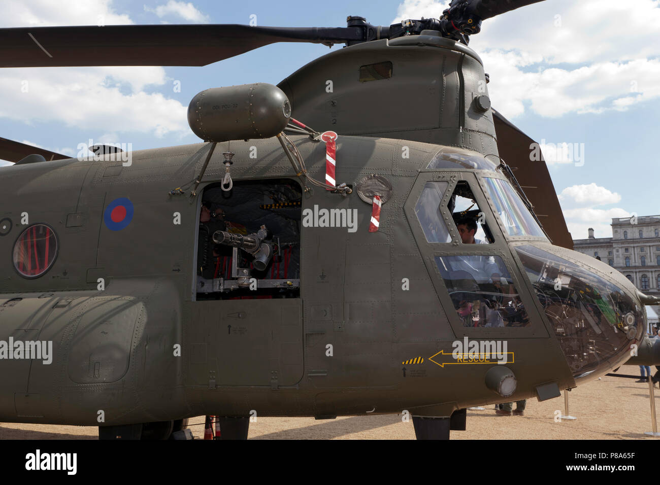 Close-up of the front of a Boeing Chinook HC6A  heavy-lift helicopter, on display at Horse Guards Parade, as part of RAF 100 Centenary Celebration - Stock Image