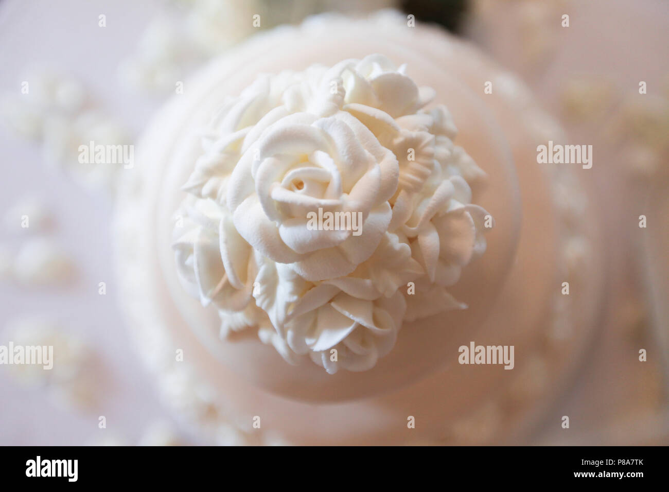 High-angle close-up shot of the top tier of a beautiful white wedding cake with detailed white roses as decoration. - Stock Image