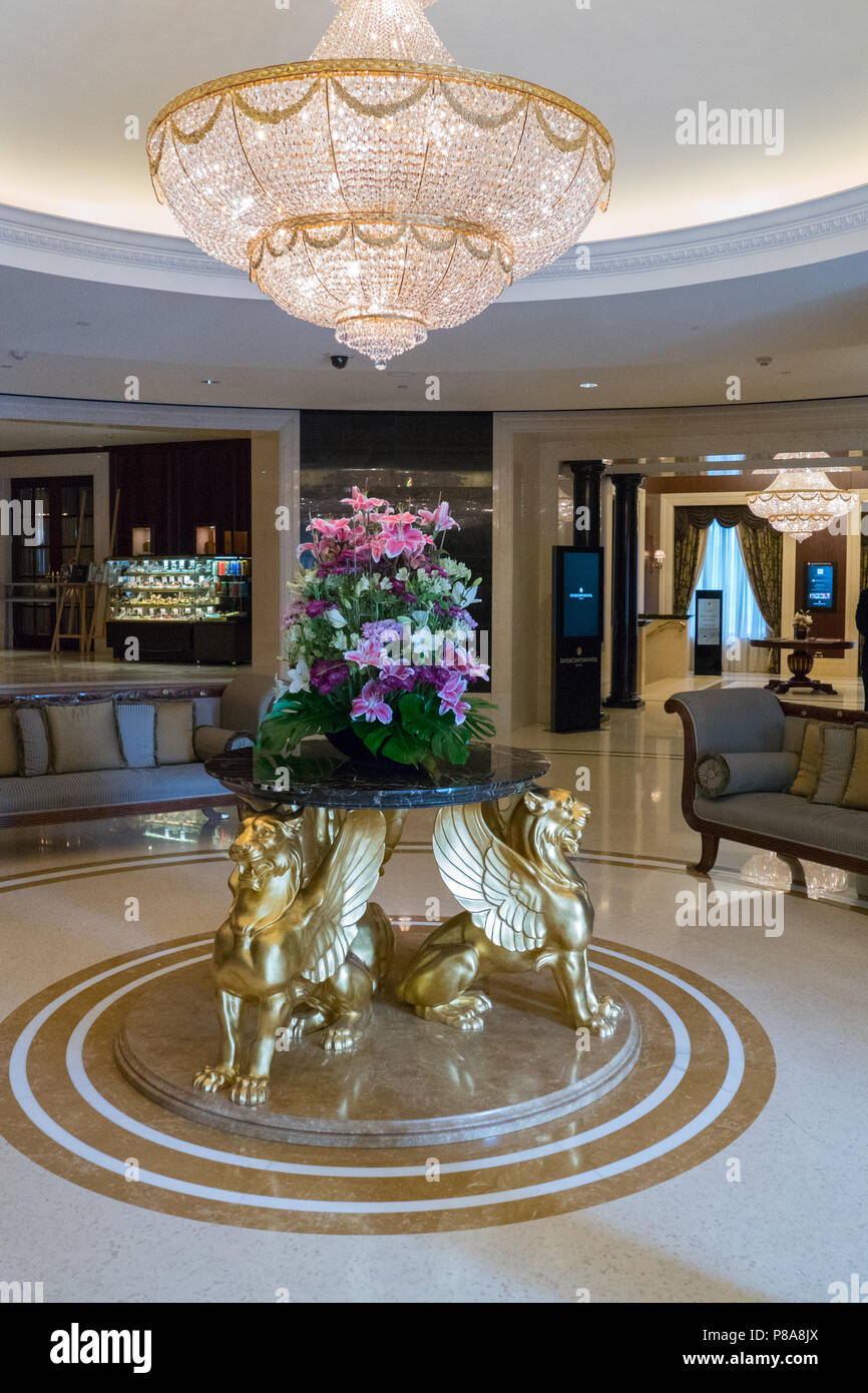 A Large Lobby Spacious Hall With Huge Crystal Chandelier Expensive Furniture Table For Flowers Golden Griffins Your Design