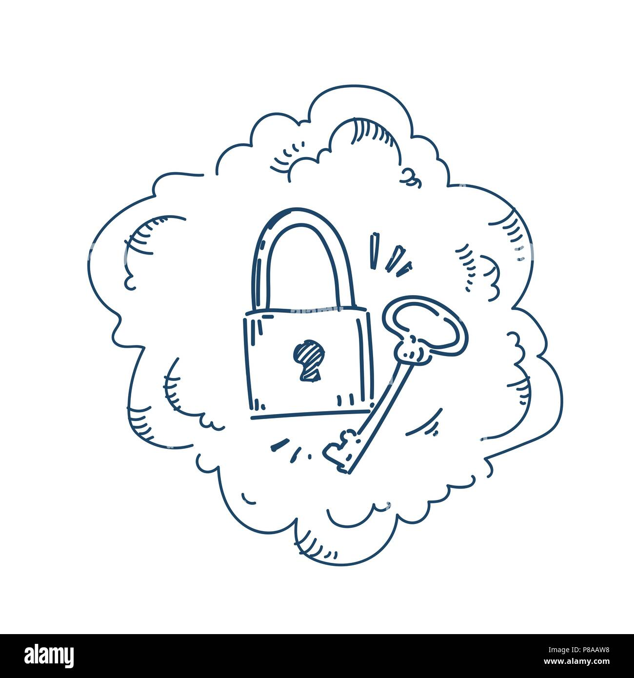 padlock key security system concept on white background sketch doodle - Stock Vector