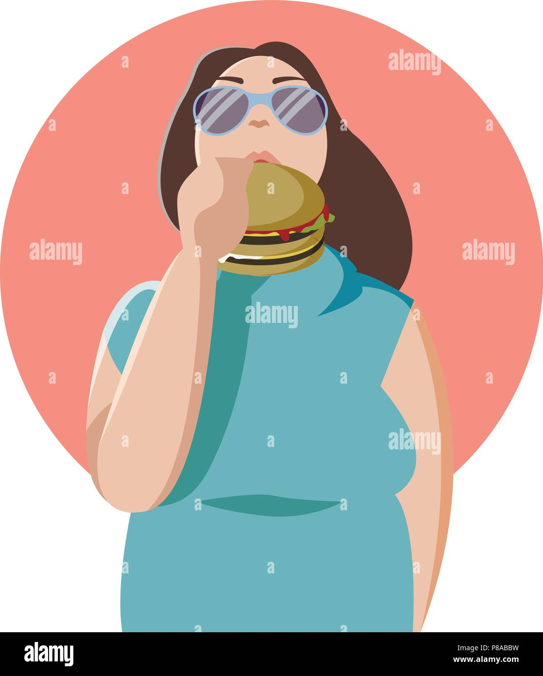 Happy fat woman eating a big tasty hamburger. Flat concept illustration of bad habits and people eating burgers and junk food isolated - Stock Vector