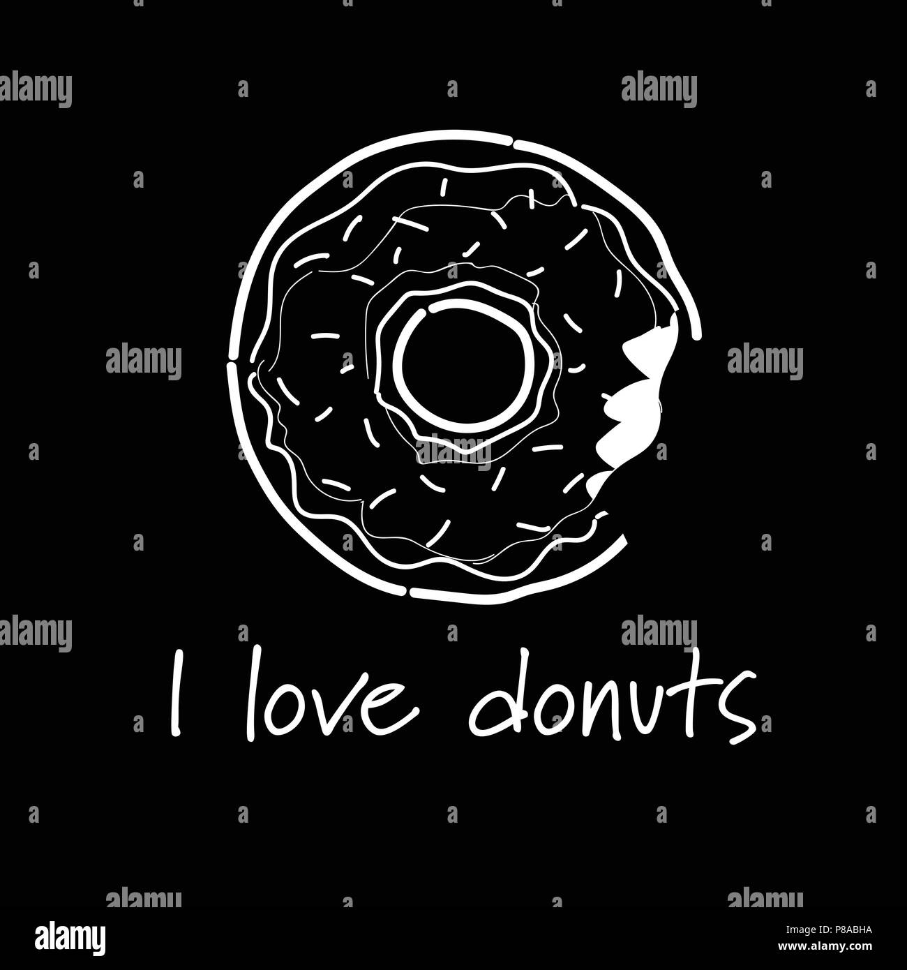 Donuts Covered Icing Bitten Off Lettering Template Greeting Card