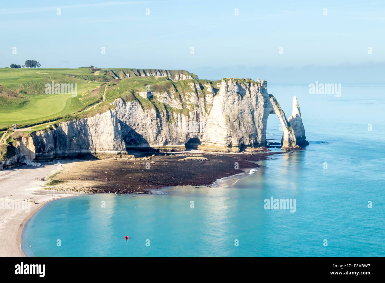 Aiguille Etretat cliff on the sea side and  limestone cliffs in France - Stock Image