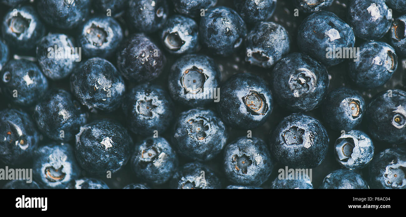 Fresh blueberry texture, wallpaper and background. Flat-lay of dark berries, top view. Summer food or local market produce concept - Stock Image