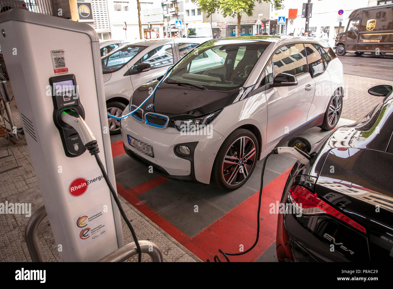 Electric Cars At A Charging Station At The Street Lungengasse