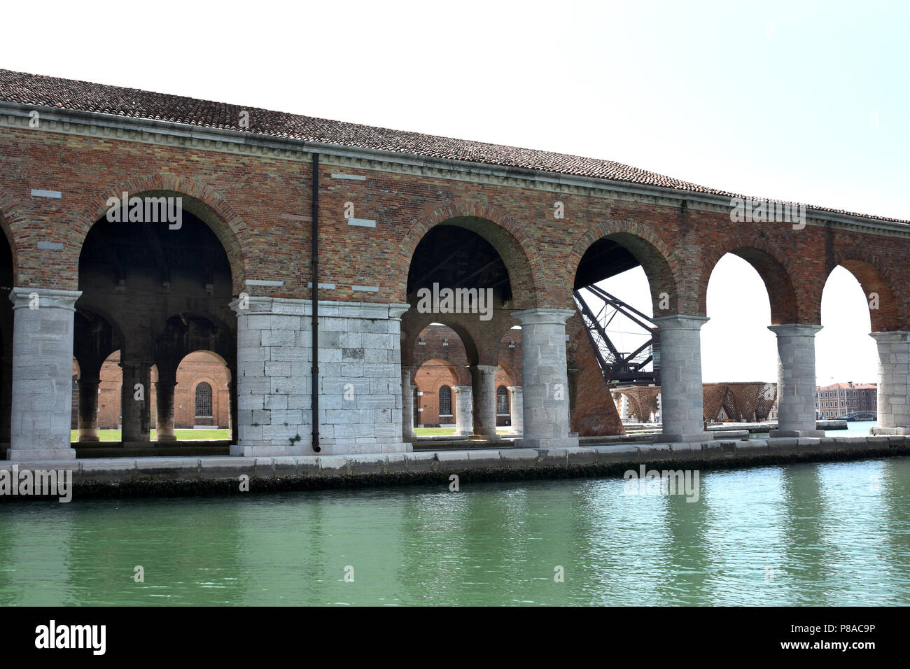 Venice, Castello, Arsenale harbour. View of old buildings from dock of Gaggiandre ,Italy ,Italian. - Stock Image