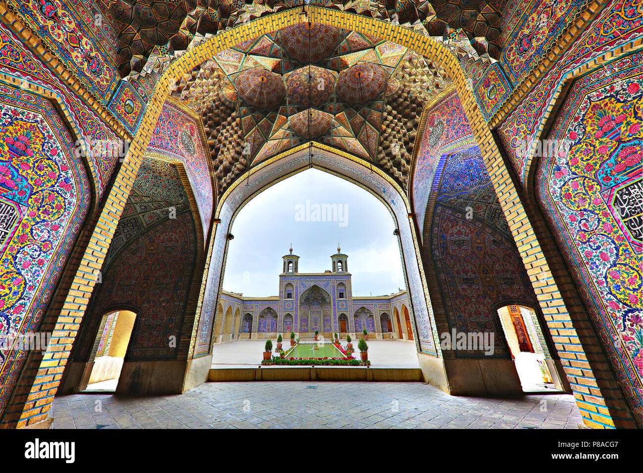Nasir-Ol-Molk Mosque known also as Pink Mosque, in Shiraz, Iran - Stock Image