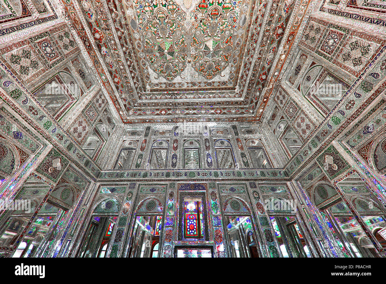 Ornaments with mirrors in the room known as Mirror Hall of historic Qavam House, in Naranjestan complex, in Shiraz, Iran - Stock Image