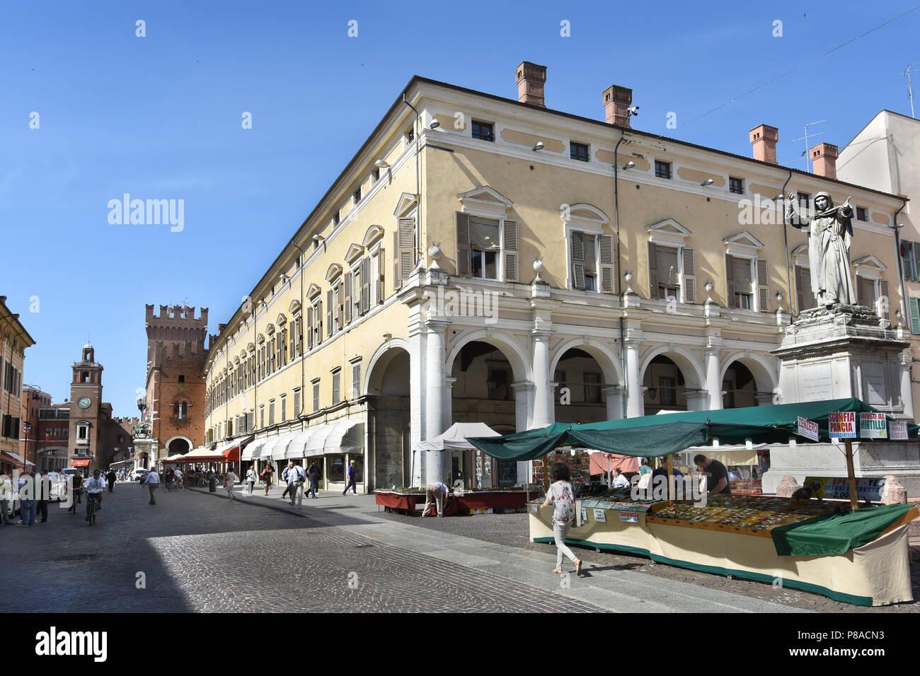 Corso Martiri della Libertà and Ferrara Town Hall, Ferrara ( Emilia-Romagna ) , northern Italy, capital Province of Ferrara, Italian. - Stock Image