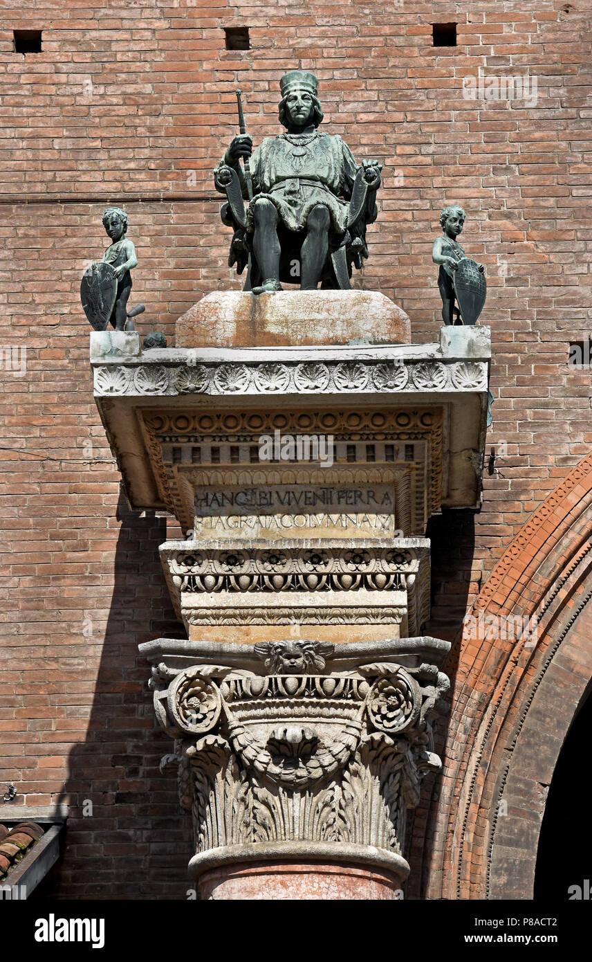 Borso d'Este, Duke of Ferra, at Palazzo Municipale Corso on  Martiri della Libertà and Ferrara Town Hall, Ferrara ( Emilia-Romagna ) , northern Italy, capital Province of Ferrara, Italian. - Stock Image