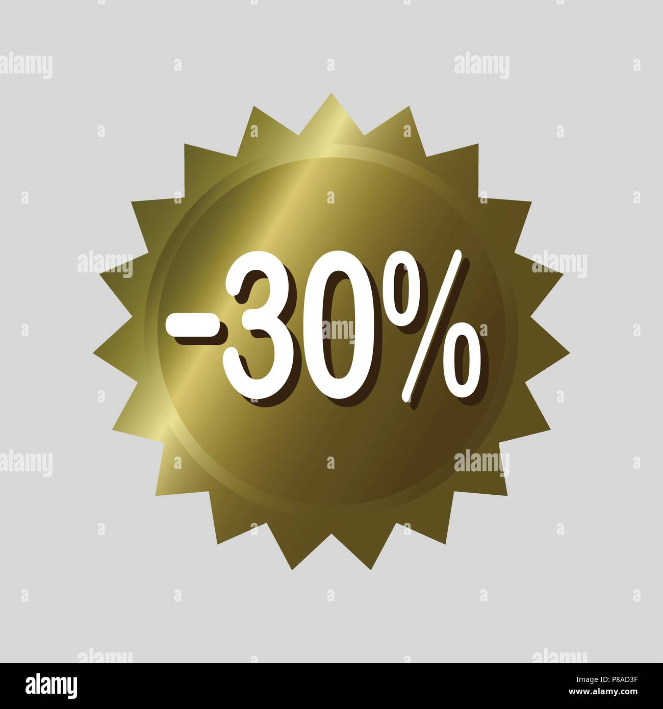 Price tag, '30% off' discount sticker  Golden vector label design on