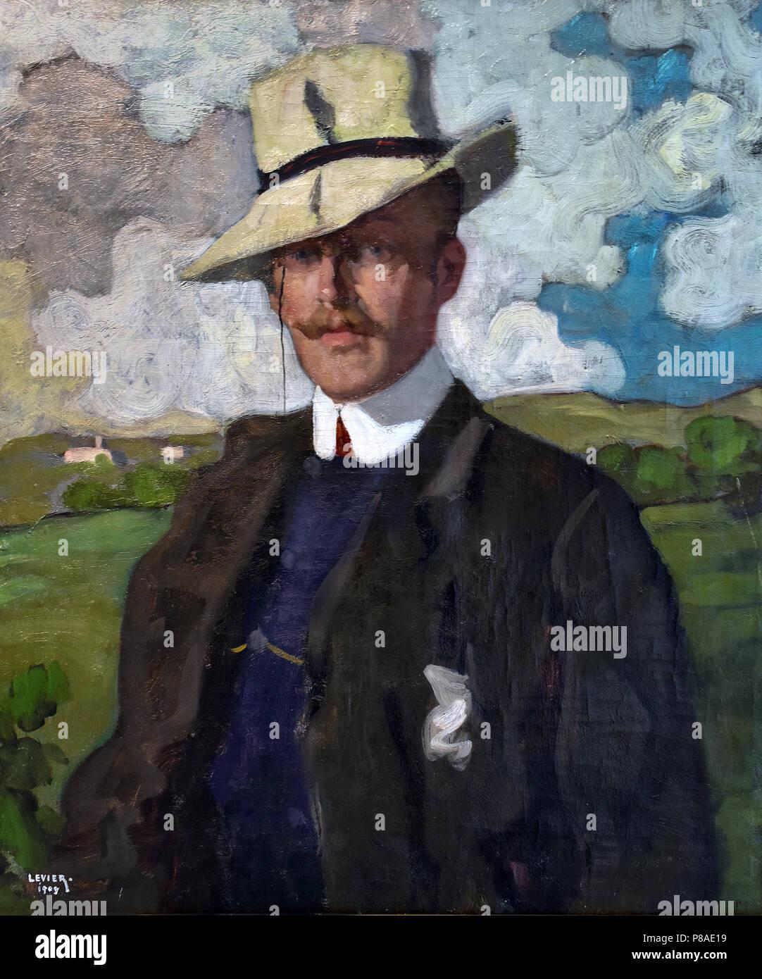 Ritratto del Musicista - Portrait of the Musician Desportes 1909 Adolfo Levier (Italian, born 1873) Italy - Stock Image