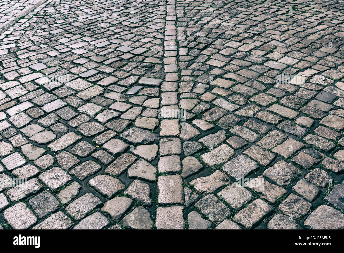 Hamburg , Germany, June 26, 2018: Close-Up of Cobblestone Sidewalk - Stock Image