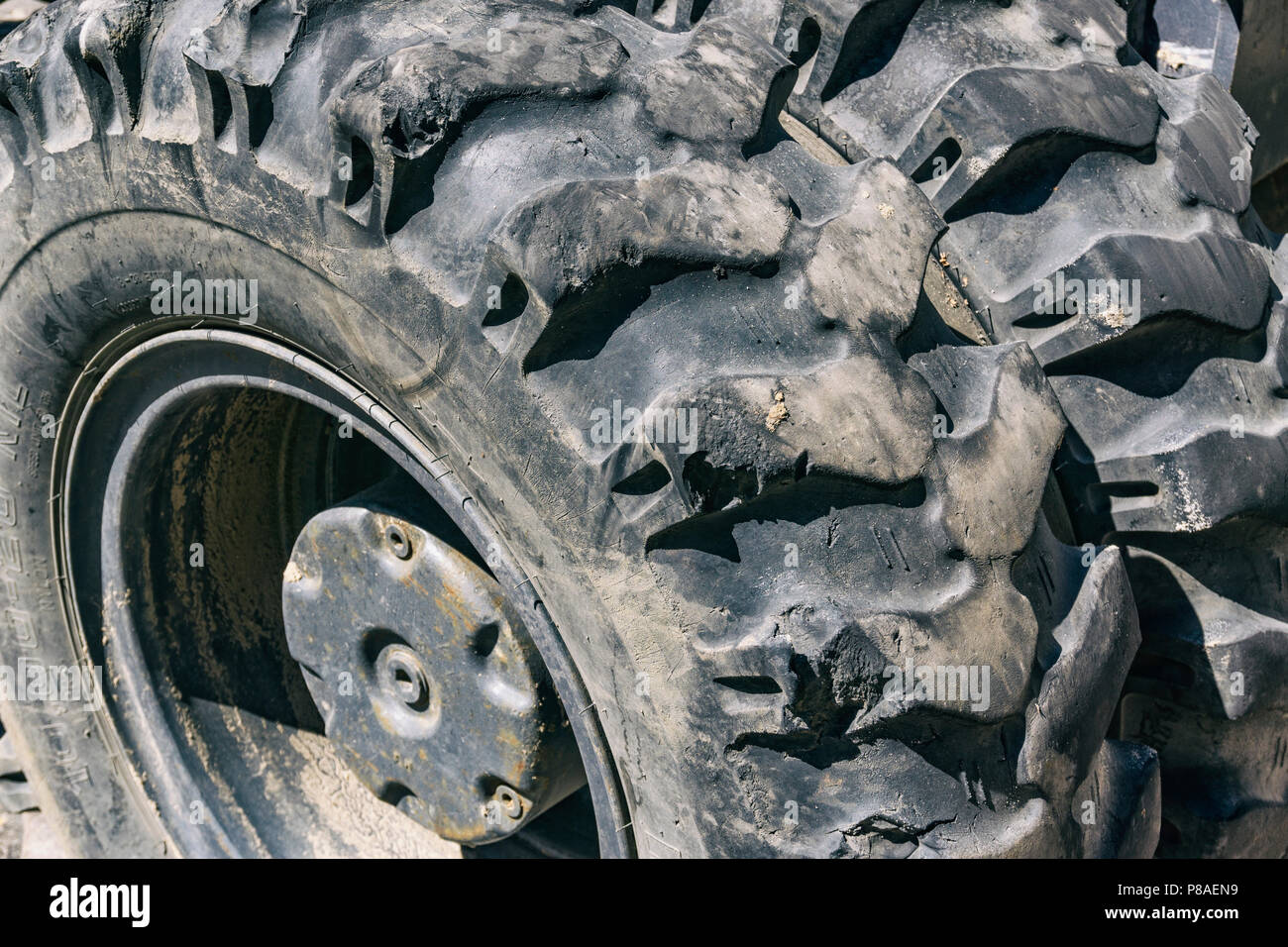 Berlin, Germany, July 04, 2018: Close-up of Heavy Dury Tyre - Stock Image