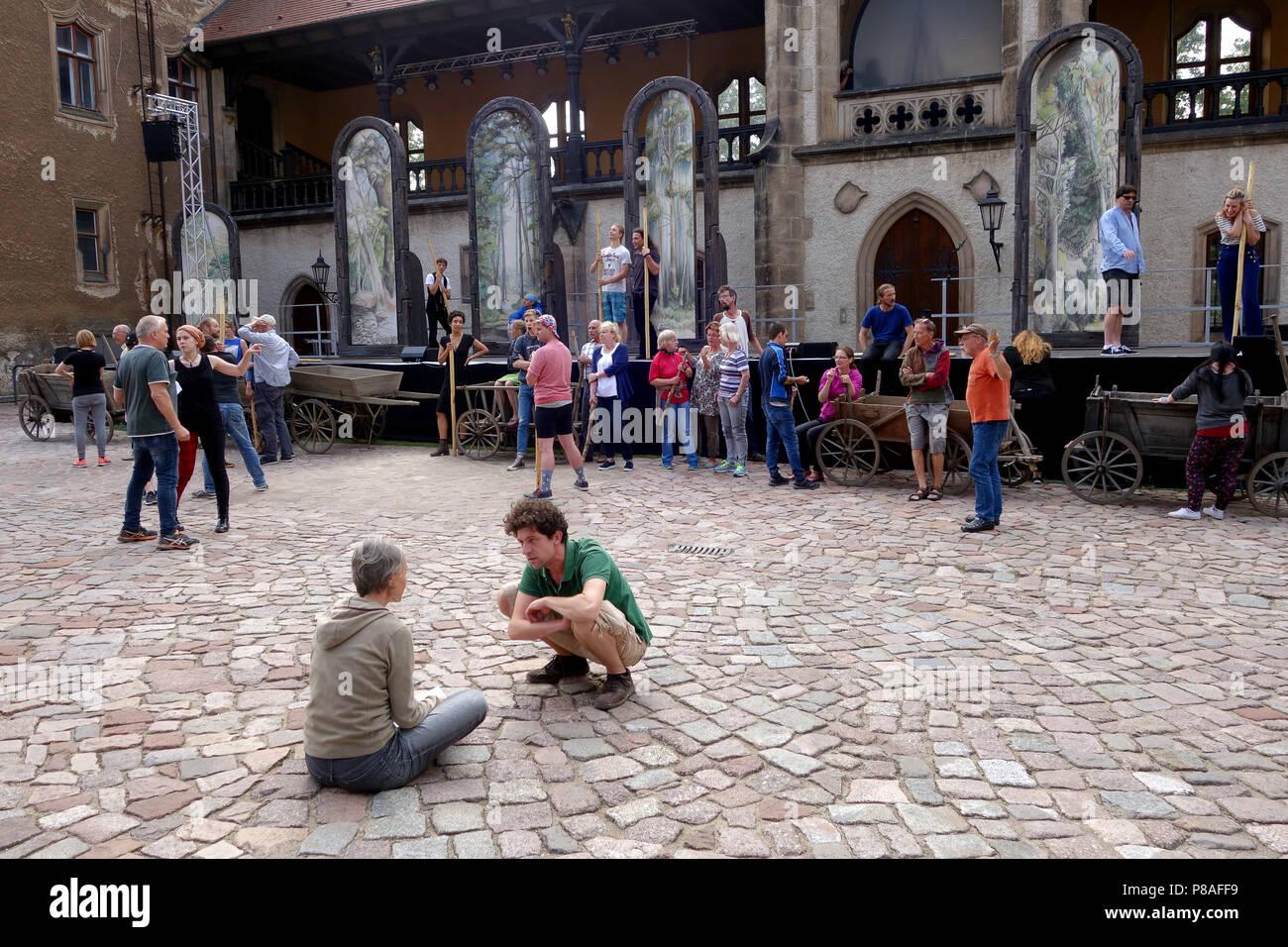 Meissen Germany outdoor theatre at the Neue Burgfestspiele rehearsing 'Das Geheimnis der Hebamme' 2018 Stock Photo