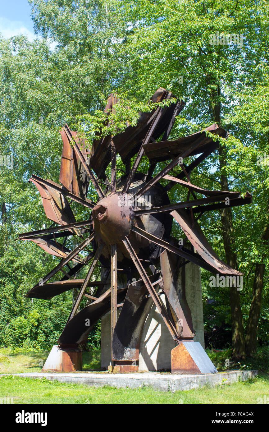 The old wheel of ventilator of a colliery - Landek in city Ostrava in the Czech Republic - Stock Image