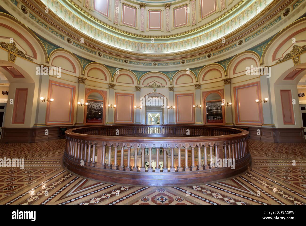 Sacramento, California - July 6, 2018: California State Capitol's 2nd floor rotunda. - Stock Image