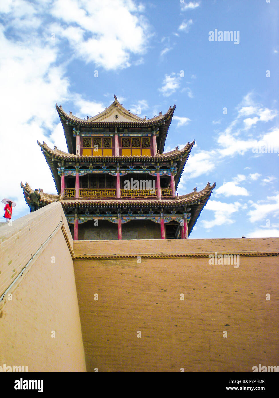 Ornate tower in the Jiayuguan fortress, China - Stock Image