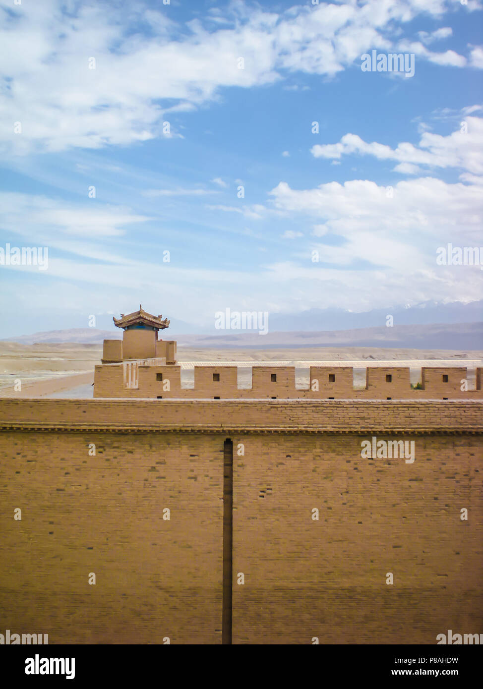 Small watchtower at the end of the Chinese great wall in Jiayuguan, China - Stock Image