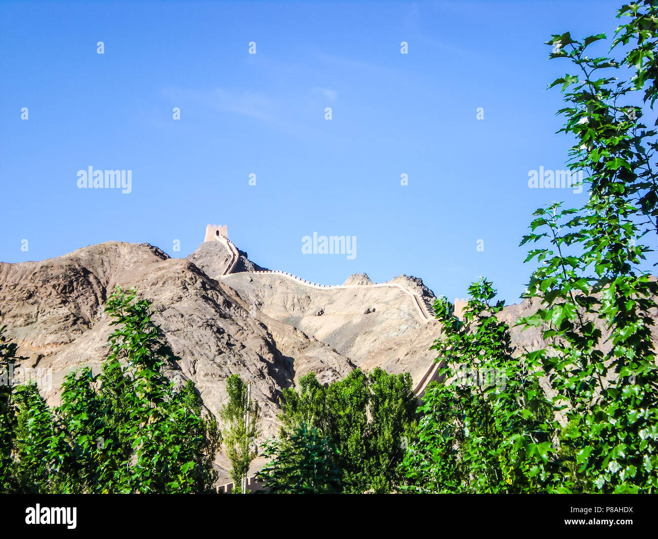 The end of the great wall in Gansu province, China - Stock Image
