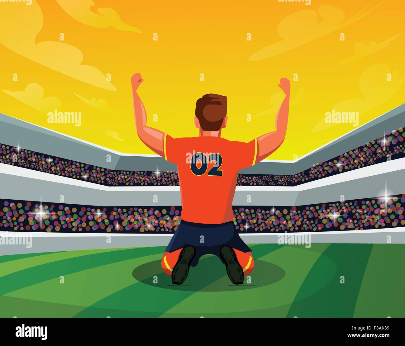 concept of Champion: Rear view of soccer or footballer kneeing on field with winning feeling. Creative soccer design with stadium - Stock Vector