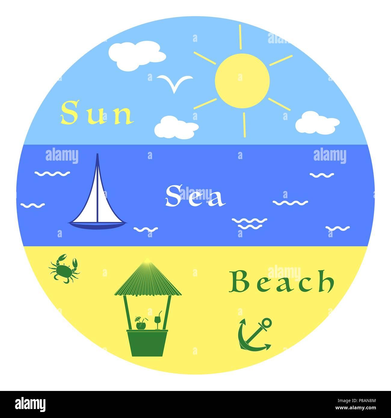 Sun, clouds, bird, sea, waves, yacht, beach, crab, anchor, bar. Summer leisure. - Stock Image