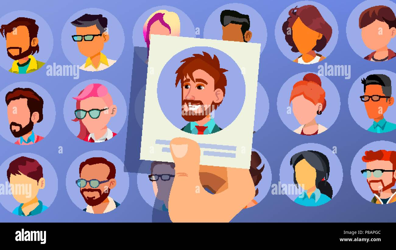 Human Recruitment Vector. Man. Business Man Picked In Recruitment. Pick Up. Individual. Group Of Businesspeople. HR Process. Cartoon Illustration - Stock Vector