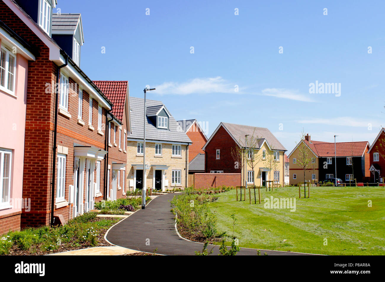 Bury st edmunds uk may 15 2018 new build homes in the larke grange development on a sunny day