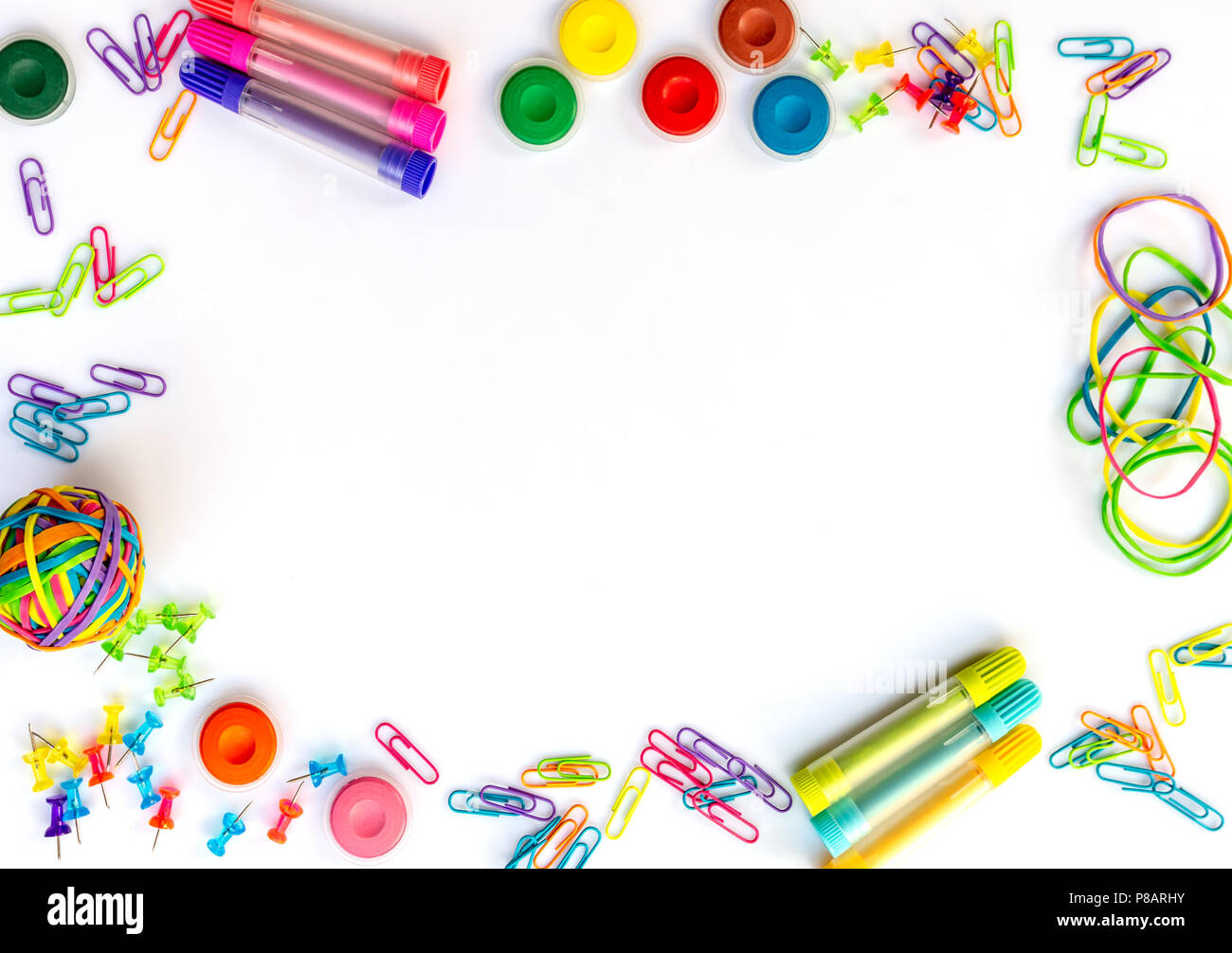 Background Frame Of Colorful School Supplies Isolated On White Iwith