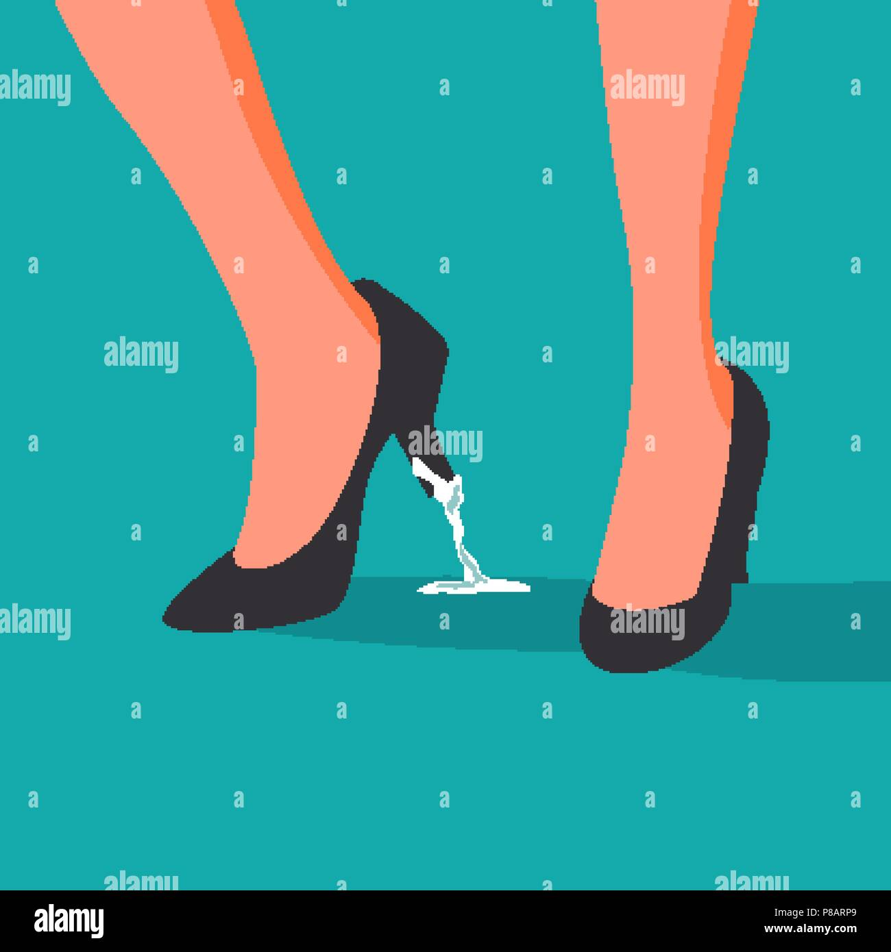 Business Trouble Stuck Vector Feet Business Woman Shoe With