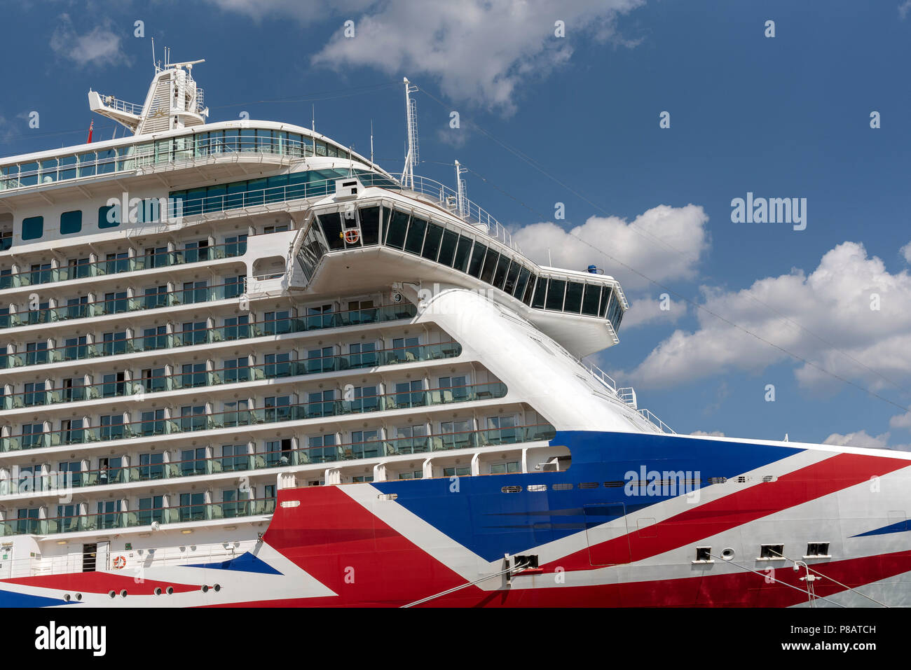 Britannia cruise ship berthed in the Port of Southampton UK. P&O company. - Stock Image