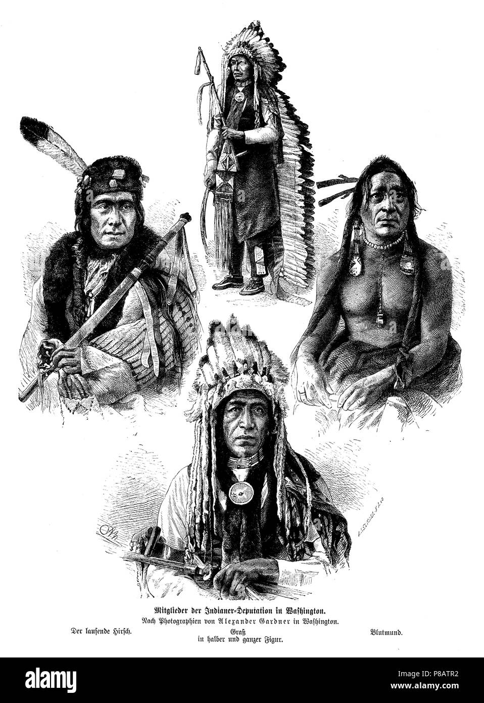 Members of the Indian Deputation in Washington. The running stag (left), grass (middle, top and bottom), blood mouth (right). After photographs of Alexander Gardner in Washington, A Neumann und A N - Stock Image